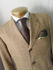 ERMENEGILDO ZEGNA bespoke custom tan plaid three button pick stitch jacket 40