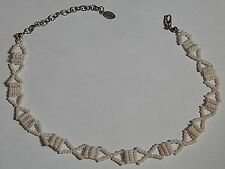 "VINTAGE ROBERT ROSE SEED BEAD ""X"" NECKLACE CREAM SIGNED"