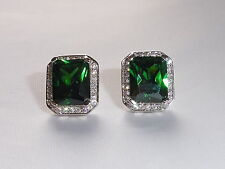 Ladies Art Deco Style 925 Silver White Sapphire Emerald Green Diopside Earrings