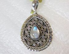Rainbow Moonstone Pendant in 925 Sterling Silver