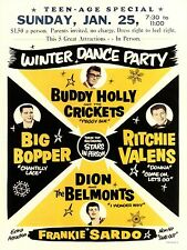 "Buddy Holly Winter Dance Party 16 x 12"" Photo Repro Concert Poster"
