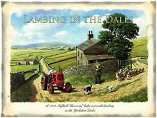 RED TRACTOR LAMBING IN DALES,STEEL WALL PLAQUE QUALITY METAL RETRO SIGN TIN15X20