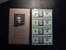 Uncirculated Uncut Sheet of Four $20 Star Replacement Notes in Book