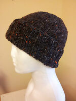 Hand Knitted in Ireland for 2015/16 Ribbed Beanie Hat of100% Donegal Tweed wool