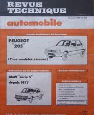 Revue technique PEUGEOT 205 ESSENCE GL GR SR GT RTA 438 1983 + BMW serie 5 1977