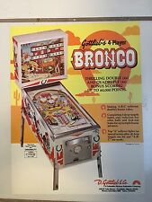 """BRONCO"" BY GOTTLIEB 1970'S  PINBALL PROMO  BROCHURE-""MINT"" IN PLASTIC COVER"