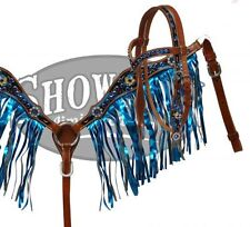 Showman Pony Size Hand Painted Headstall with Blue Metallic Fringe Breast Collar