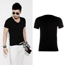 New Fashion Men Slim Fit Cotton V-Neck Short Sleeve Casual T-Shirt Tops Hot AO