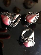 925 STERLING SILVER AND PINK MABE BALINESE PEARL RING