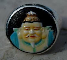 ESTATE STERLING JAPANESE SATSUMA LUCKY GOD BUTTON RING-SIZE 7.75-925-TOSHIKANE