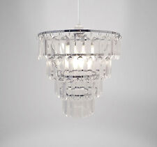 Tiered Silver Chandelier Lightshade Clear Acrylic Gems