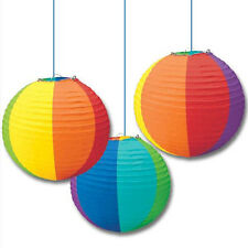 RAINBOW PAPER LANTERN DECORATIONS (3) ~ Birthday Shower Wedding Party Supplies