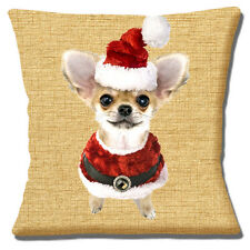 "FAWN WHITE CHIHUAHUA PUPPY SANTA HAT AND COAT CHRISTMAS 16"" Pillow Cushion Cover"