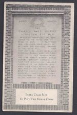 Ca 1927 BERA COLLEGE KY, A CREED TO RAISE MEN STRONG IN BODY & MIND, SEE INFO