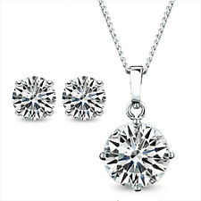 18K White GOLD Filled SWAROVSKI Lab DIAMOND NECKLACE EARRINGS SET Wedding EX450