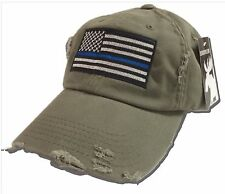 Thin Blue Line Hat Cap police law enforcement American flag Support Olive Green