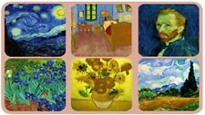 Coasters - Set of 6, Assorted Images by Vincent Van Gogh, Cork Backed, Colorful
