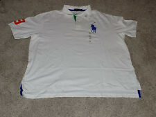 Men's Polo Ralph Lauren White Mesh Polo Shirt Short Sleeve 4XB Big Pony