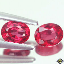 EXCEPTIONAL VVS TOP PAIR OVAL VIVID RED RUBY NATURAL