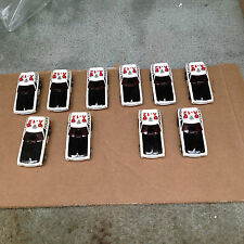 VINTAGE 10 PIECE AURORA AFX POLICE CAR / RED / BLACK / A12 / BEAUTIFUL CARS!!!!!