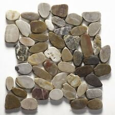 Multicolour Flat Riverstone Pebble Mosaic Tiles