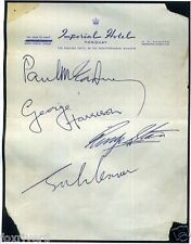 THE BEATLES Signed Hotel Note - 'Imperial Hotel, Torquay' 1964