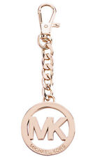 NWT Michael Kors Large Rose Gold Circle MK Logo Key Chain Bag Charm