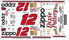 #12 Jimmy Spencer Zippo Chevy 1/32nd Scale Slot Car Decals