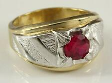 Estate Costume Jewelry Lindenwold Size 10 Two Tone SIlver & Gold Lab Ruby Ring