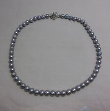 Off Brand! Japanese Cultured Akoya Pearl Necklace 7.0~6.5 MM Silver Gray Peal!