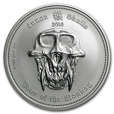2016 Palau 1 oz Silver Lunar Skulls Year of the Monkey - SKU#95724