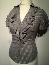 Karen Millen Grey Striped Ruffle Shirt Blouse UK 10