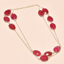 AMAZING KASHMIRI RUBY 925 STERLING SILVER NECKLACE 18""