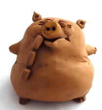 clay ceramic figurine folk craft pig with sausages new!!!