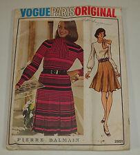 Vintage Vogue Paris Pattern 2851 PIERRE BALMAIN Sz 12 Dress COMPLETE
