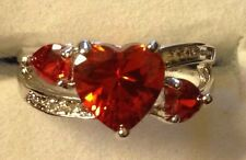 FIRE ORANGE TOPAZ HEART SHAPE  STONES / WHITE TOPAZ SILVER RING SIZE 6 THRU 10