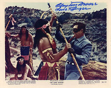 Hand Signed 8x10 photo original Lobby Card CLAYTON MOORE - LONE RANGER - R&R COA