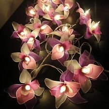 Thai Vintage White Pink Purple Orchid Flower Fairy String Lights Wedding Party D