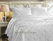 CATHEDRAL WINDOW Full Queen QUILT SET : MATELASSE WHITE FRENCH COUNTRY AMELIA