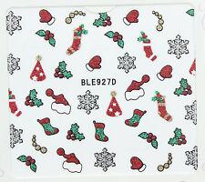 Navidad destello de plata Copos De Nieve Sombreros Guantes Holly Ivy 3d Arte De Uñas Stickers