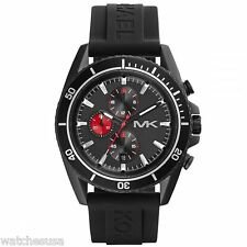 Michael Kors Chrono Black Dial Black Silicone Jet Master Men's Watch MK8377