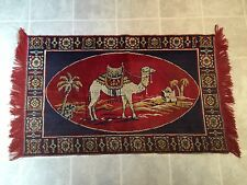 Vintage Camel Rug / Wall Hanging Lightweight Navy, Red, Gold And Cream