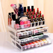 Cosmetic Organizer Drawers Clear Acrylic Jewellery Box Makeup Storage Case UK