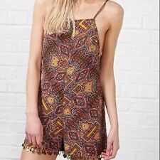Kiss The Sky Paisley Folk Indian Aztec Gypsy Coin Backless Playsuit Xs 6 8