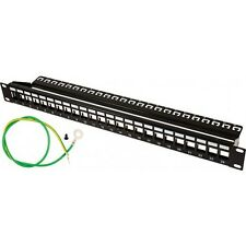 UNLOADED BLANK Shielded Keystone Patch Panel 24 Port 1U Cat6a Cat6 Cat5e and Bar