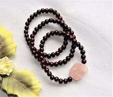 Pretty! 3 Brown Wood & Pink Quartz Beads Stretch Bracelets NEW!