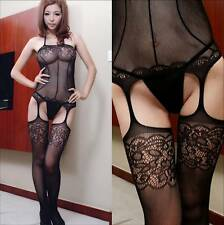 Sexy Lingerie Net Bodystocking Garter Belt 4 Straps Fishnet Open Crotch 6-12