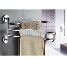 Towel Holder 3 Swivel Bars Stainless Steel Bath Rack Rail Hanger Bathroom Shelf