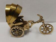 Vintage Solid Brass Bicycle Rickshaw figurine