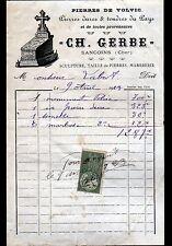 """SANCOINS (18) PIERRES de VOLVIC / TAILLEUR de PIERRES ,MARBRERIE """"Ch GERBE"""" 1923"""